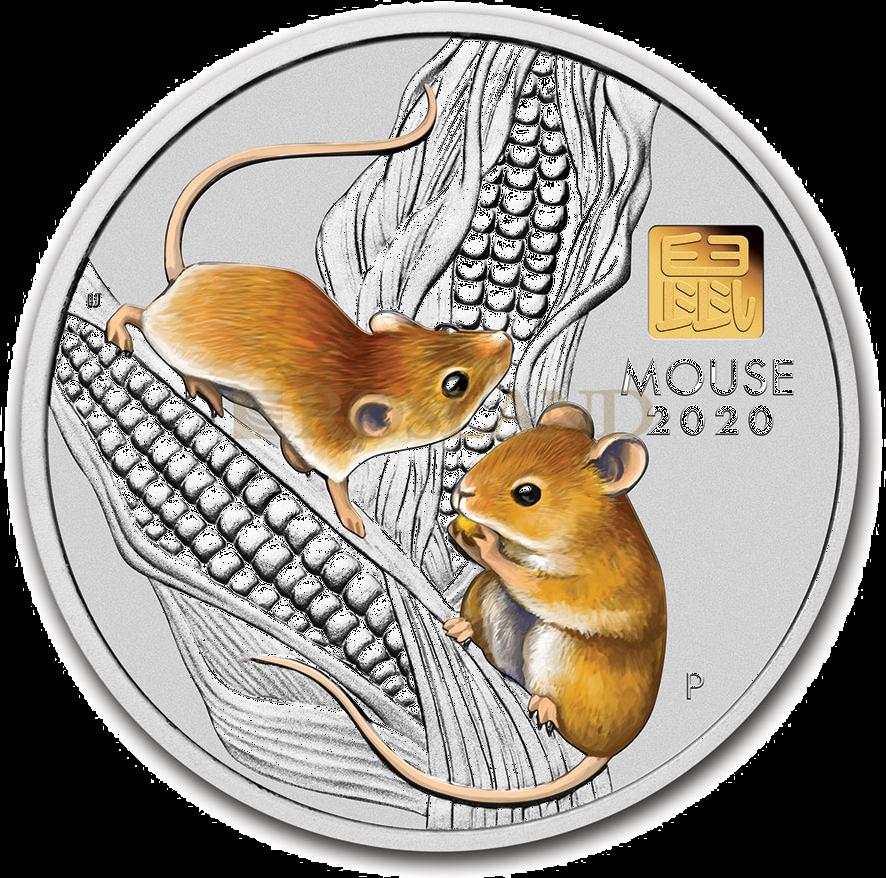 1 Kilogramm Silbermünze Lunar 3 Maus 2020 PP (Koloriert, Box, Gold Privy)
