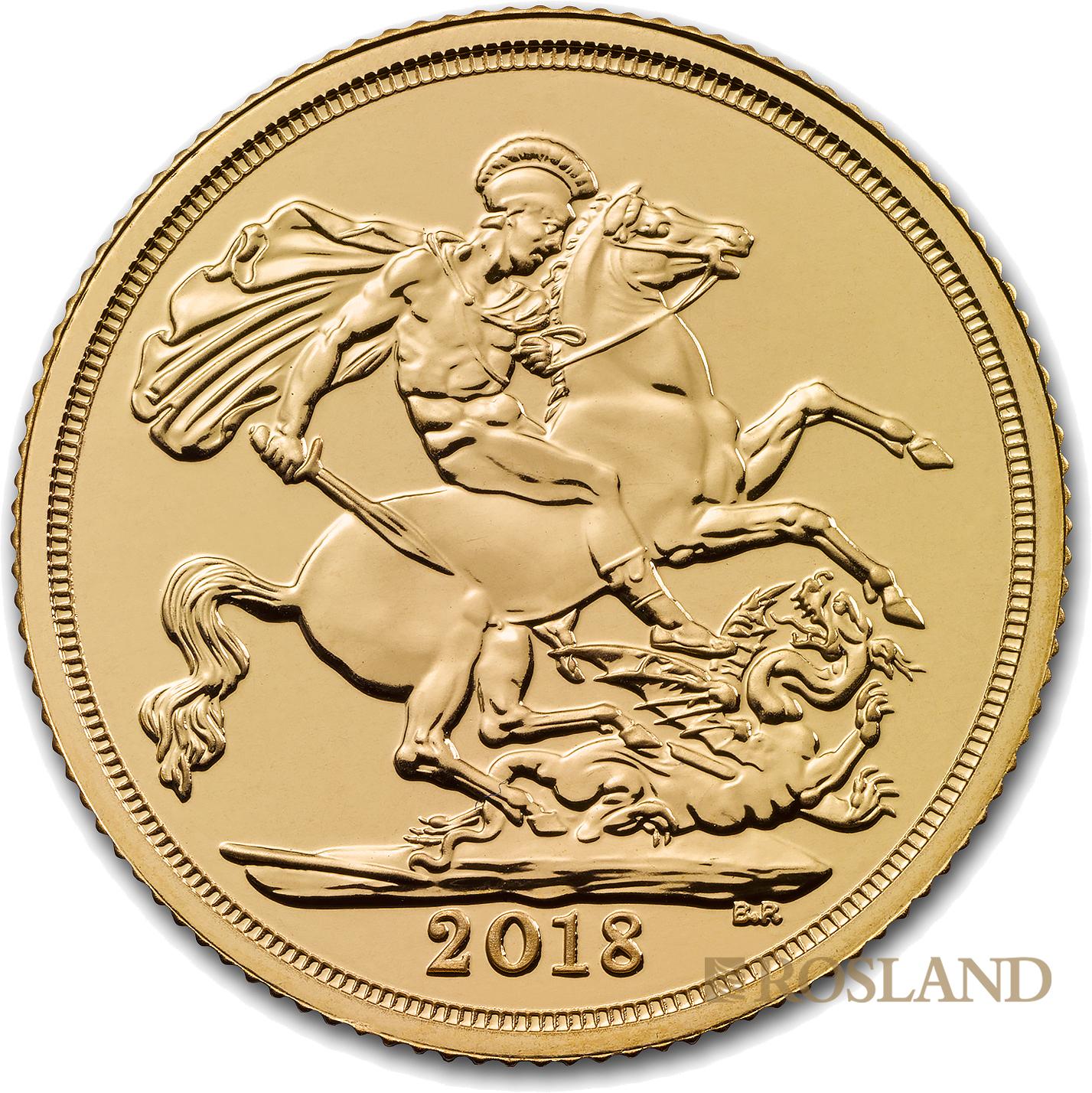 1 Sovereign Goldmünze Großbritannien 2018