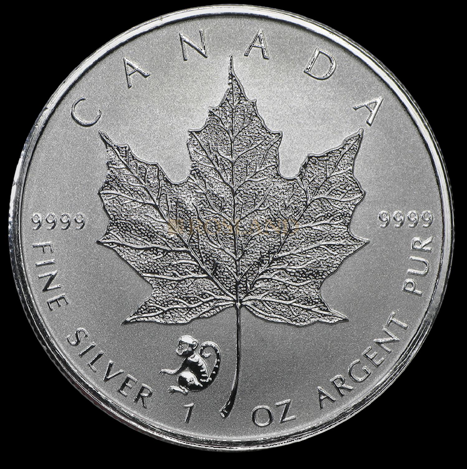 1 Unze Silbermünze Kanada Maple Leaf Lunar Affe 2016