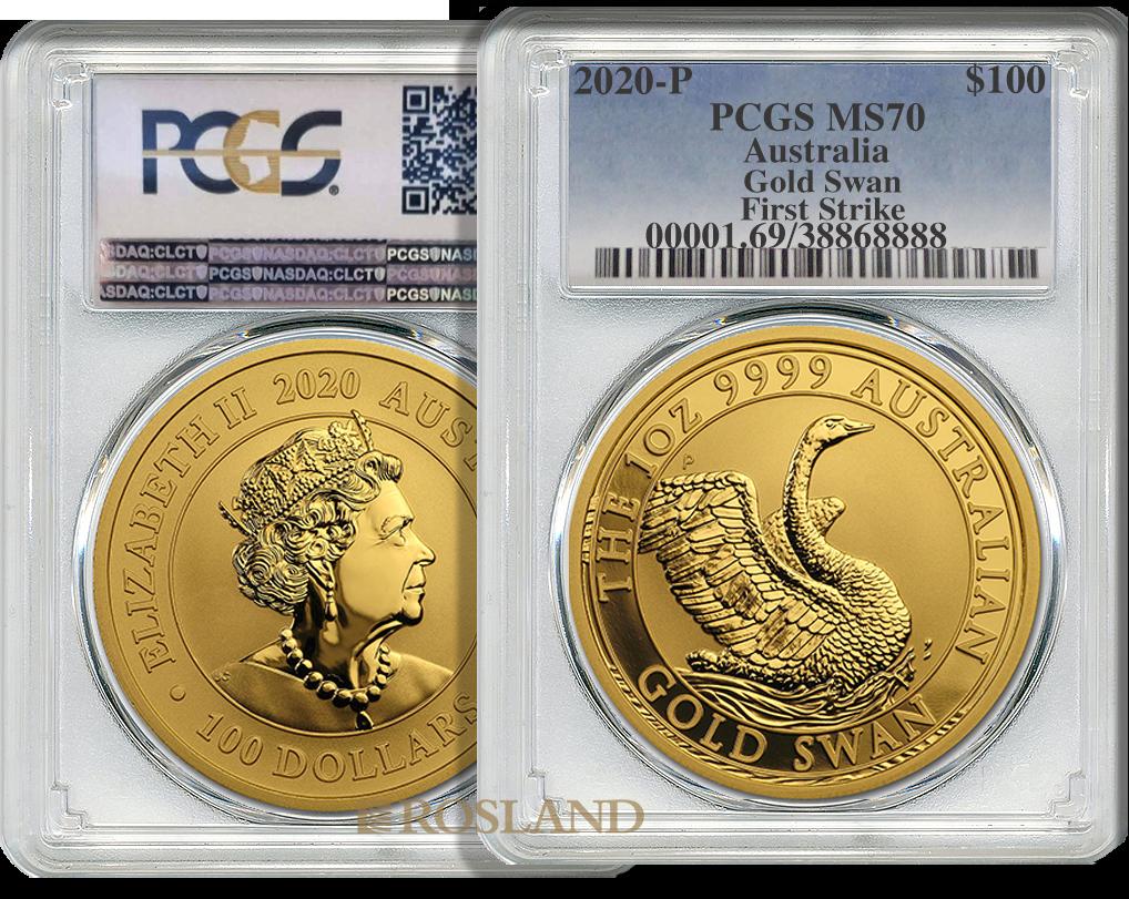 1 Unze Goldmünze Australien Schwan 2020 PCGS MS-70 (FS)