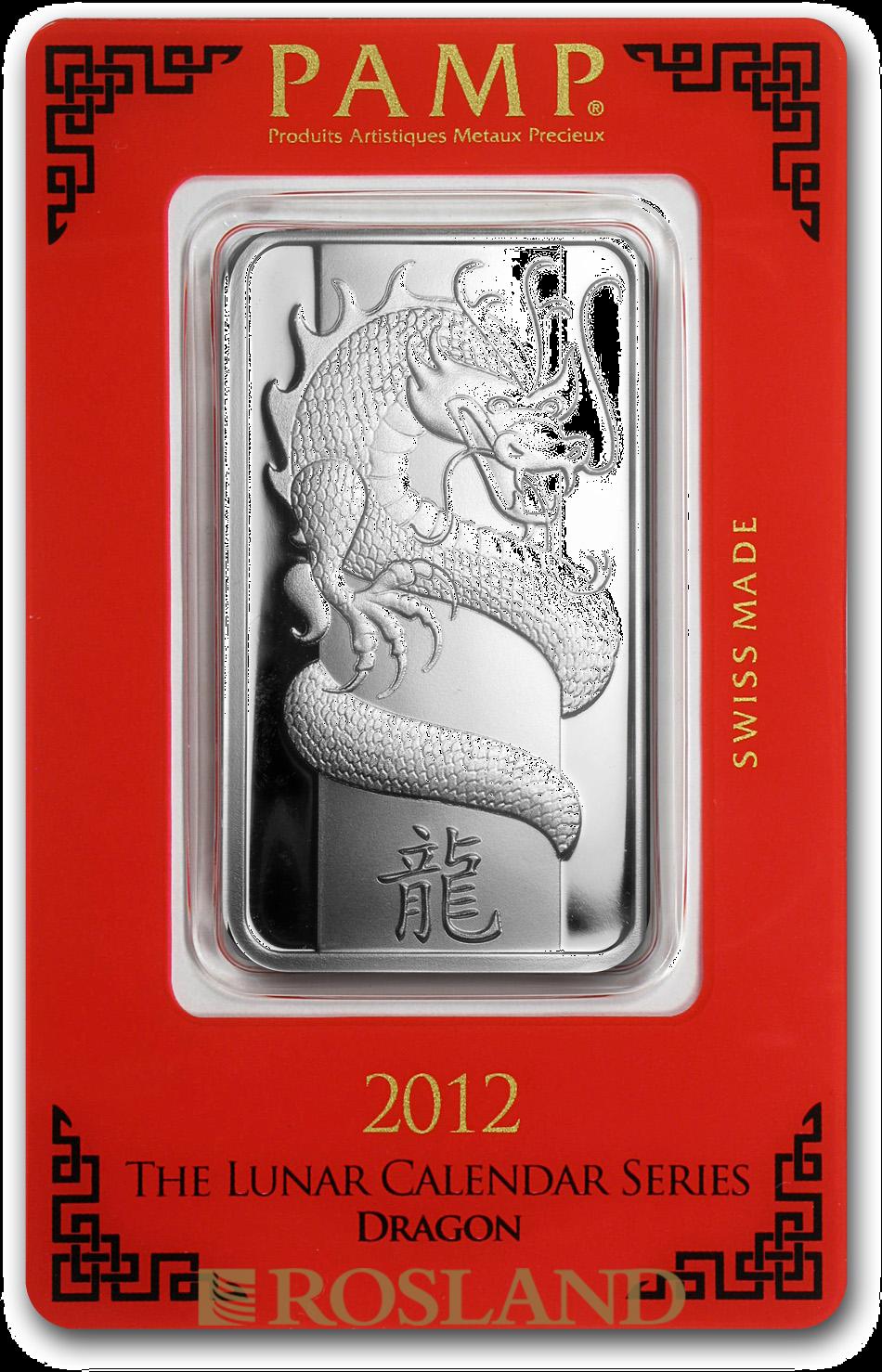 1 Unze Silberbarren PAMP Lunar Jahr des Drachens 2012