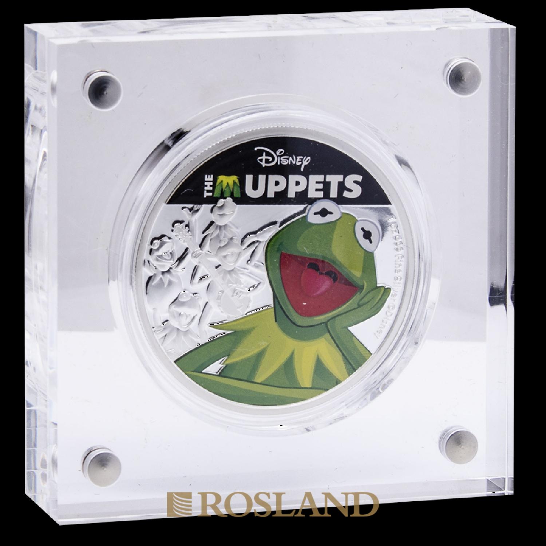 1 Unze Silbermünze Disney® Muppets Kermit 2019 PP (Koloriert, Box, Zertifikat)