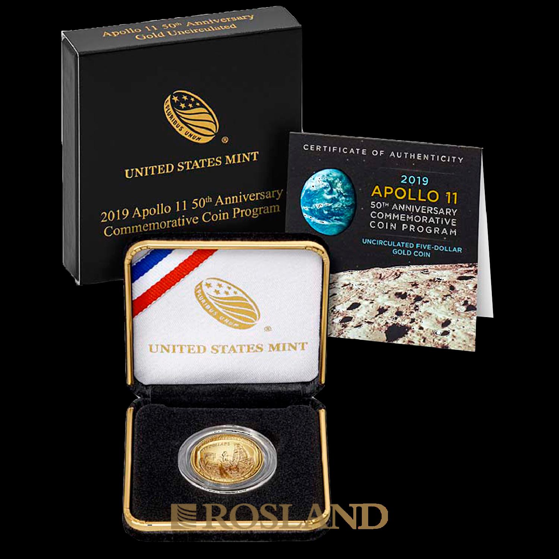 0,24 Unzen Goldmünze Apollo 10 - 50 Jahre Mondlandung 2019 (Box, Zertifikat)