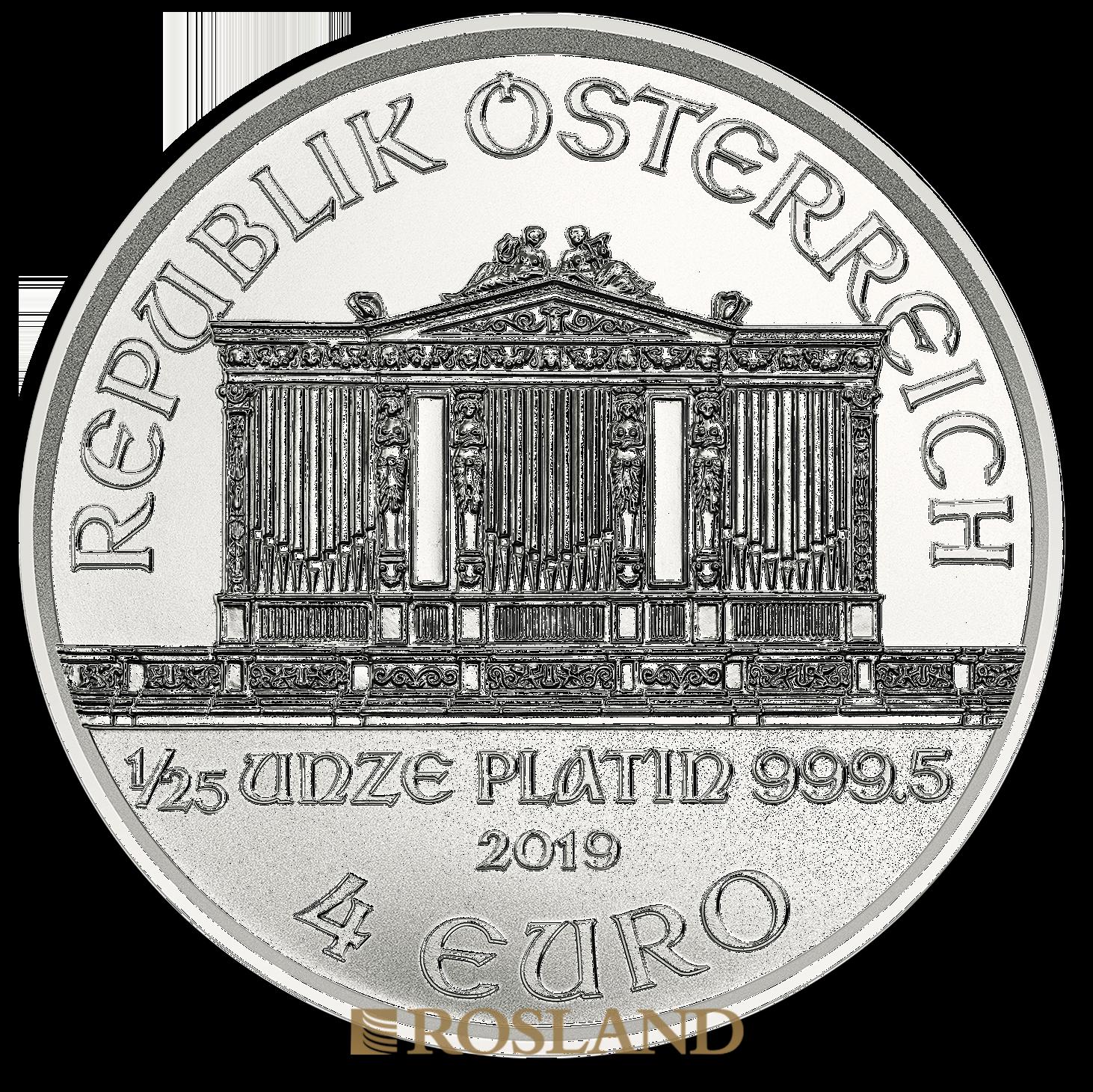 1/25 Unzen Platinmünze Wiener Philharmoniker 2019