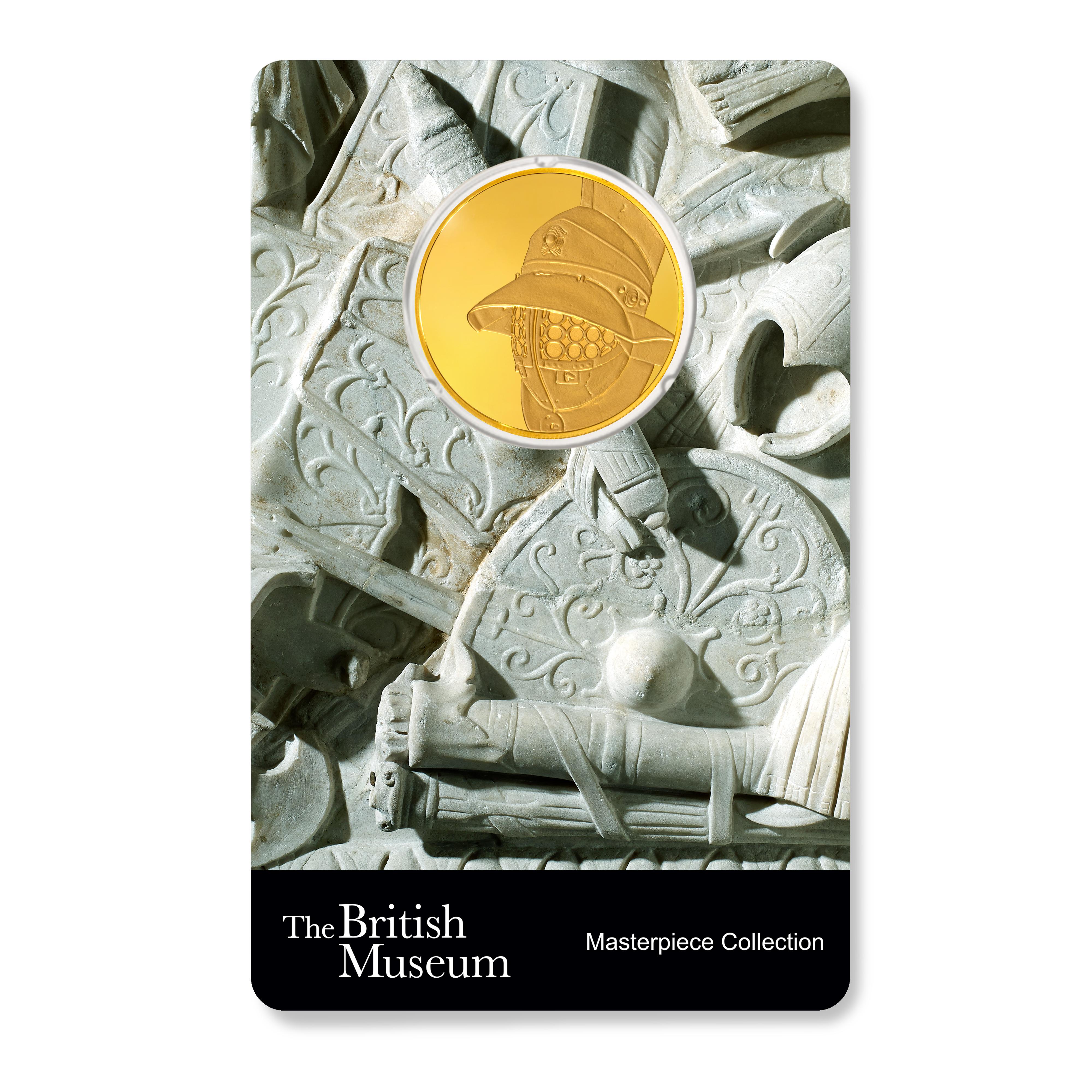 3x1/4 Unzen - 3 Goldmünzen Set PAMP Britisches Museum  Helme 2020 PP (Box, Zertifikat)