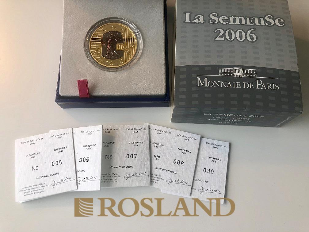 1 Unze Goldmünze La Semeuse (Abschaffung Todesstrafe) 2006 PP (Box, Zertifikat)