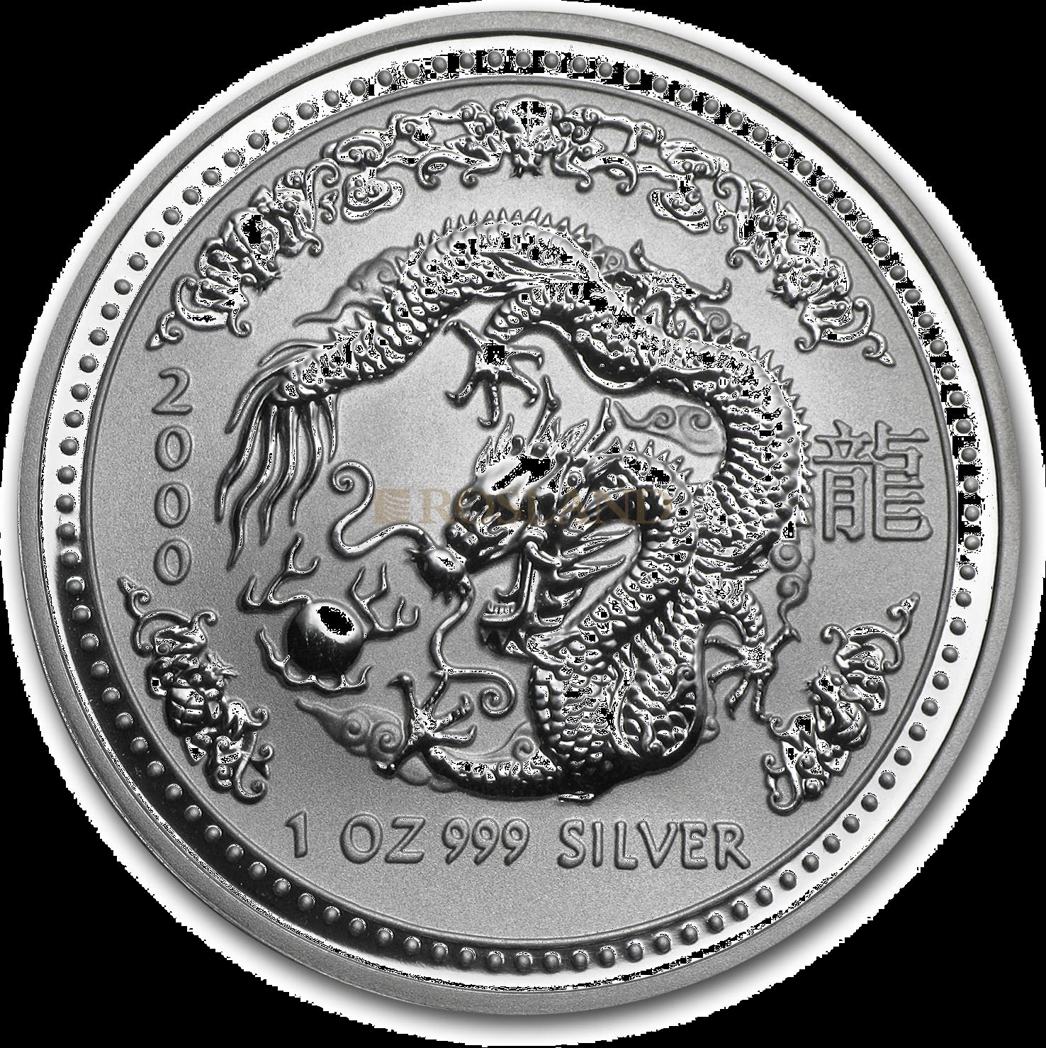 1 Unze Silbermünze Australien Lunar 1 Drachen 2000