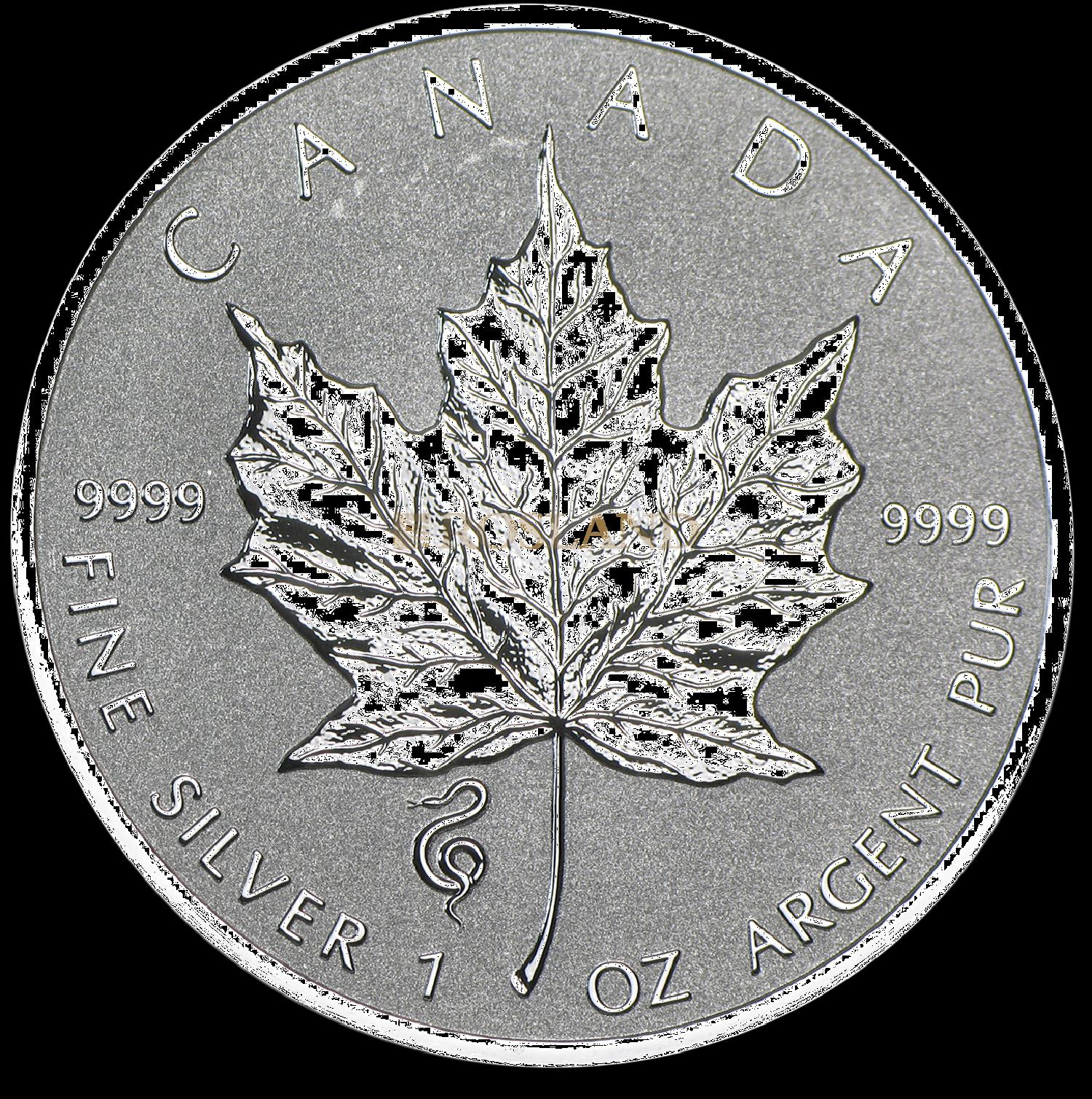 1 Unze Silbermünze Kanada Maple Leaf Lunar Schlange 2013