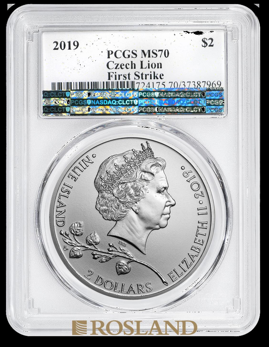 1 Unze Silbermünze Tschechischer Löwe 2019 PCGS MS-70 (FS)