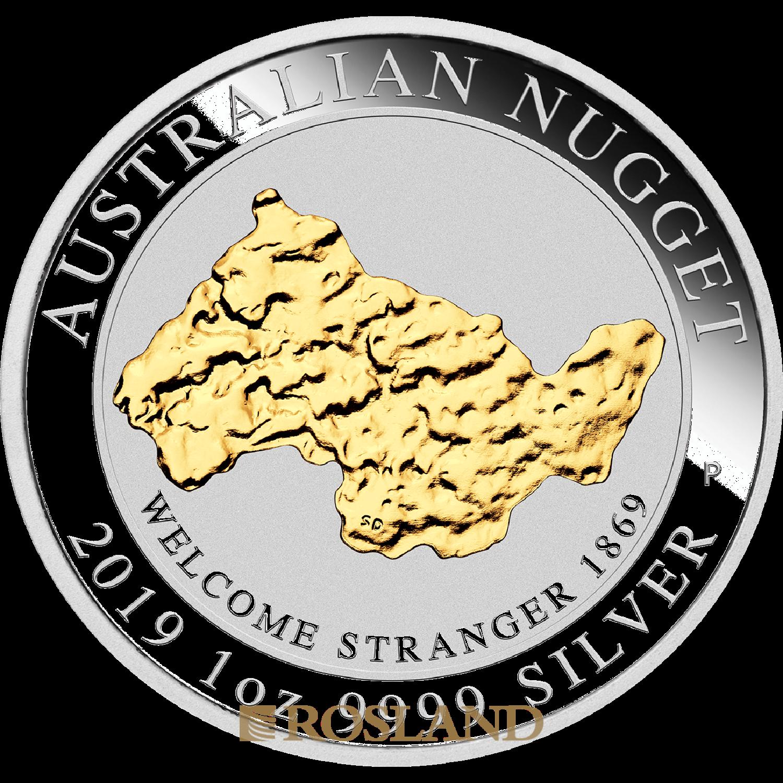 """1 Unze Silbermünze Australien """"Welcome Stranger"""" 2019 (Vergoldet, Box, Zertifikat)"""