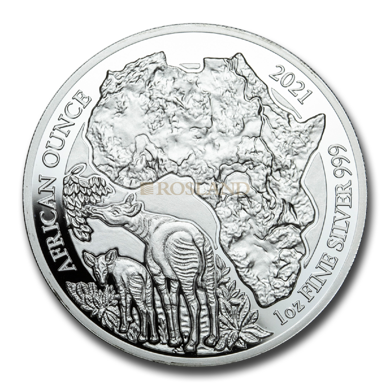 1 Unze Silbermünze Ruanda Wildlife Okapi 2021 PP