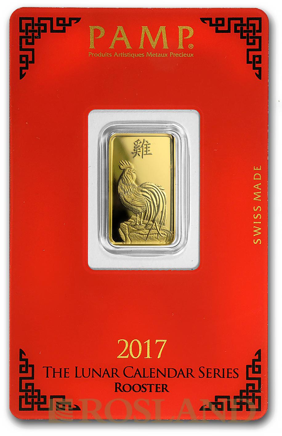 5 Gramm Goldbarren PAMP Lunar Jahr des Hahns 2017