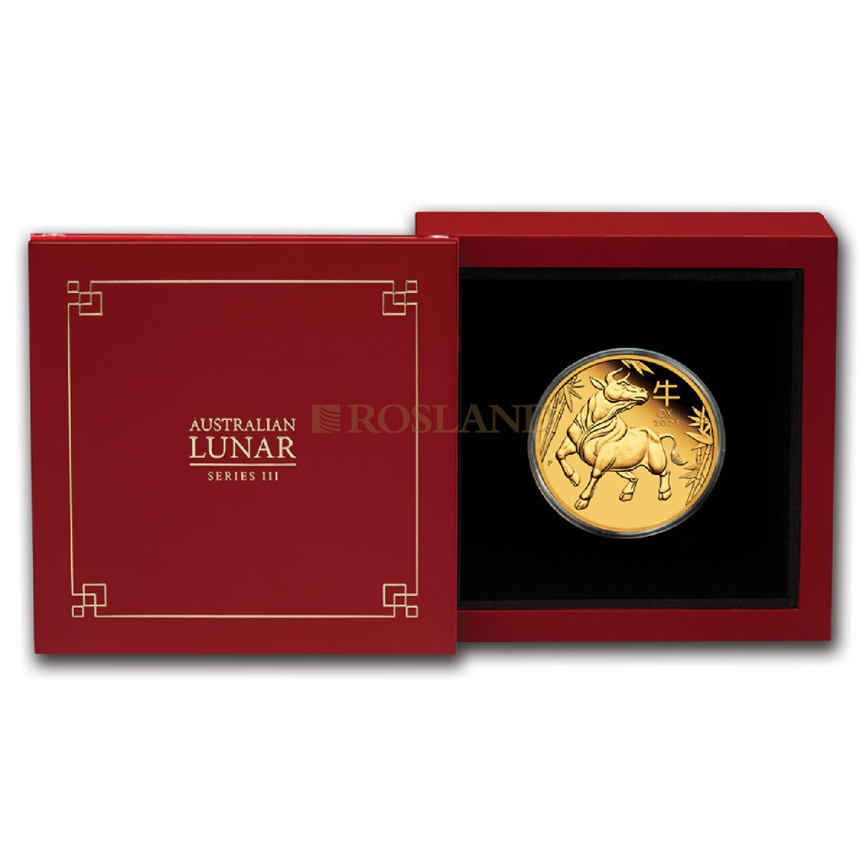 1 Unze Goldmünze Lunar 3 Ochse 2021 PP (Box, Zertifikat)
