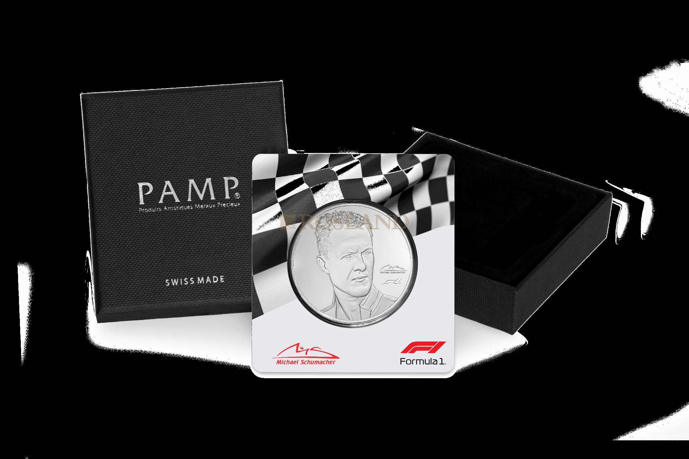 2,5 Unzen Silbermünze Michael Schumacher PP (Box, Zertifikat)