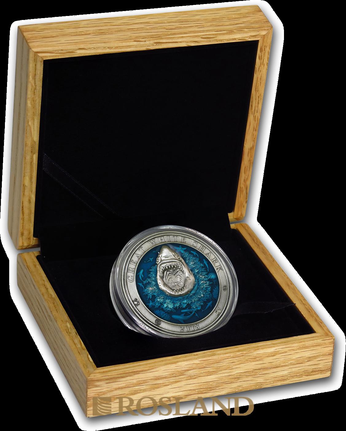 3 Unzen Silbermünze Antique Underwater World Weißer Hai 2018 (Box, Zertifikat)
