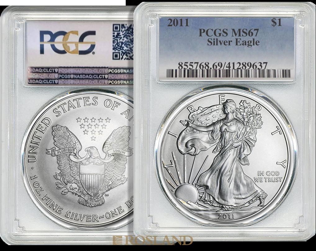 1 Unze Silbermünze American Eagle 2011 PCGS MS-67