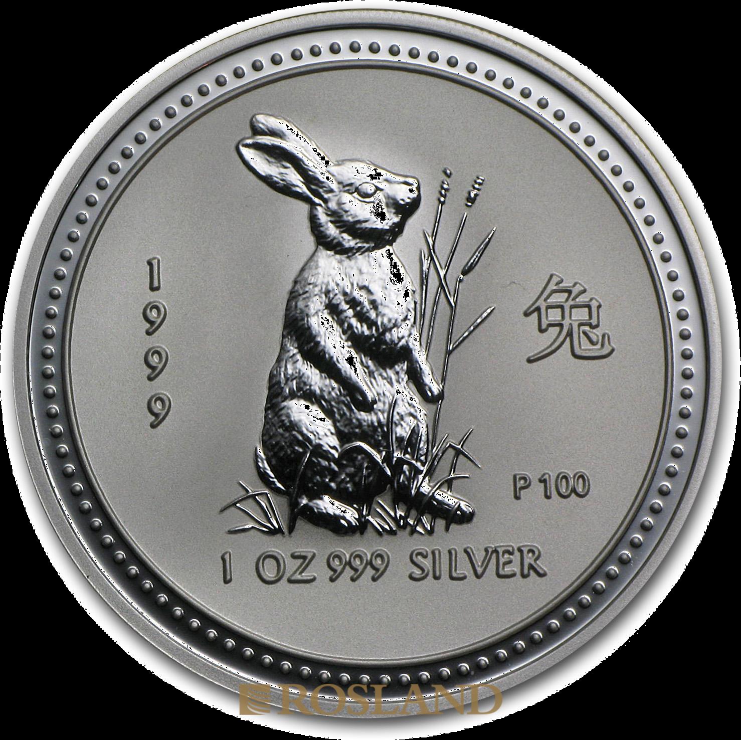 1 Unze Silbermünze Australien Lunar 1 Hase 1999