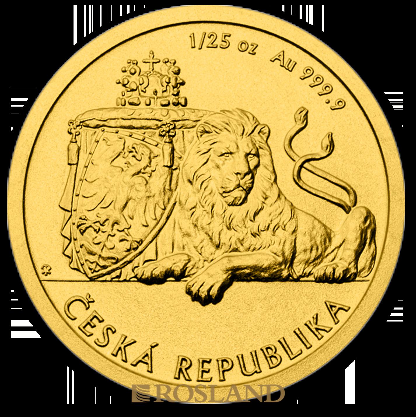 1/25 Unzen Goldmünze Tschechischer Löwe 2017