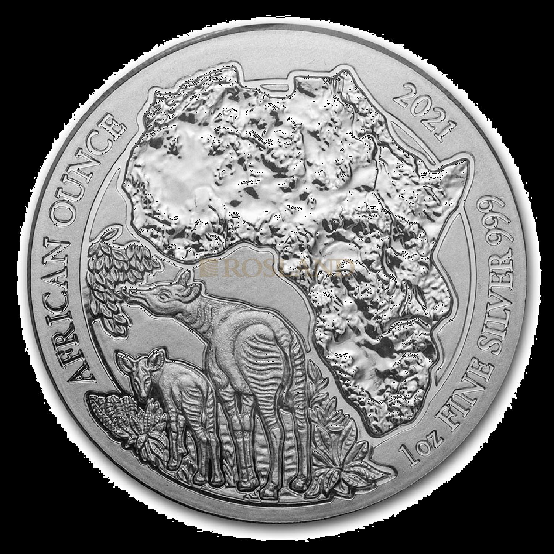 1 Unze Silbermünze Ruanda Wildlife Okapi 2021