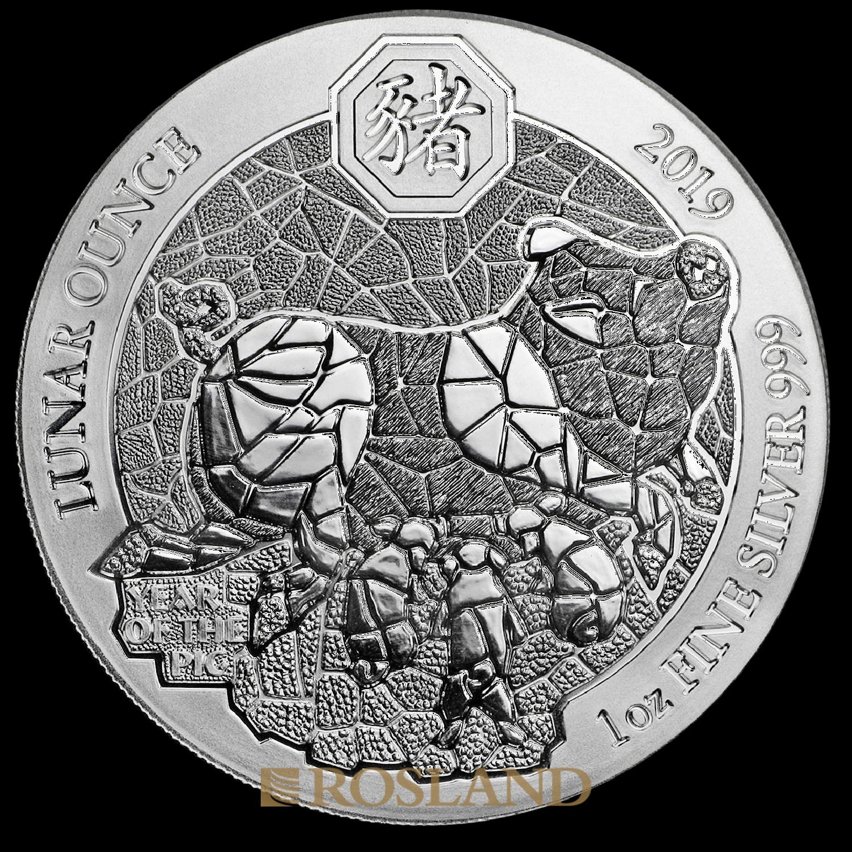 1 Unze Silbermünze Ruanda Lunar Schwein 2019