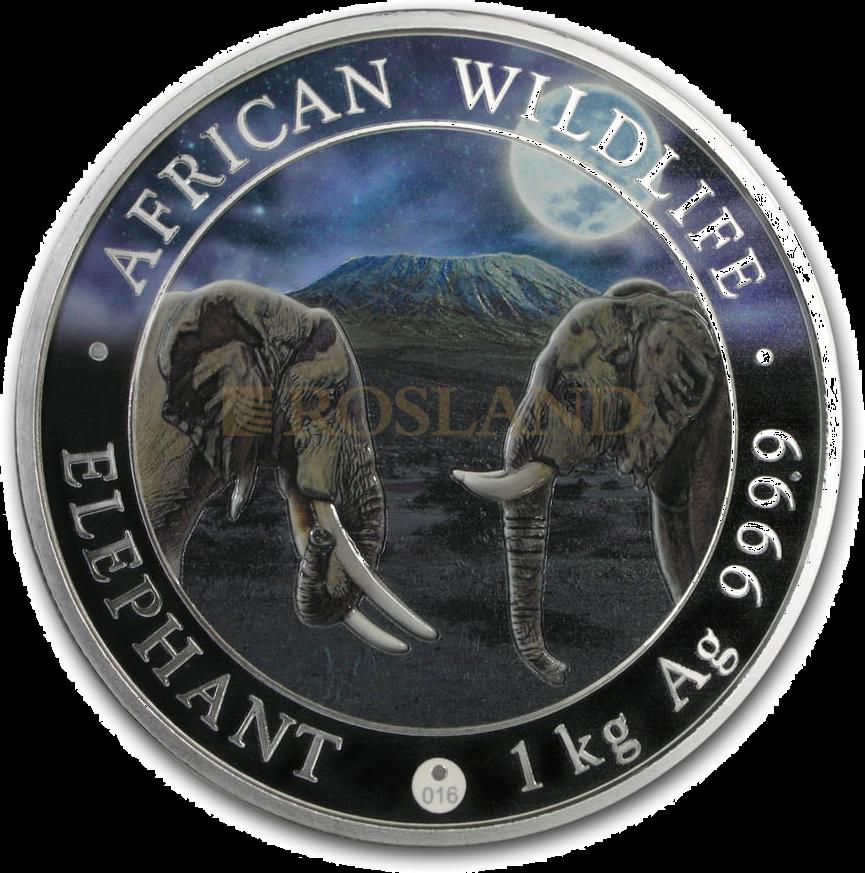 1 Kilogramm Silbermünze Somalia Elefant 2020 Riesenmond PL (Koloriert, Box, Zertifikat)