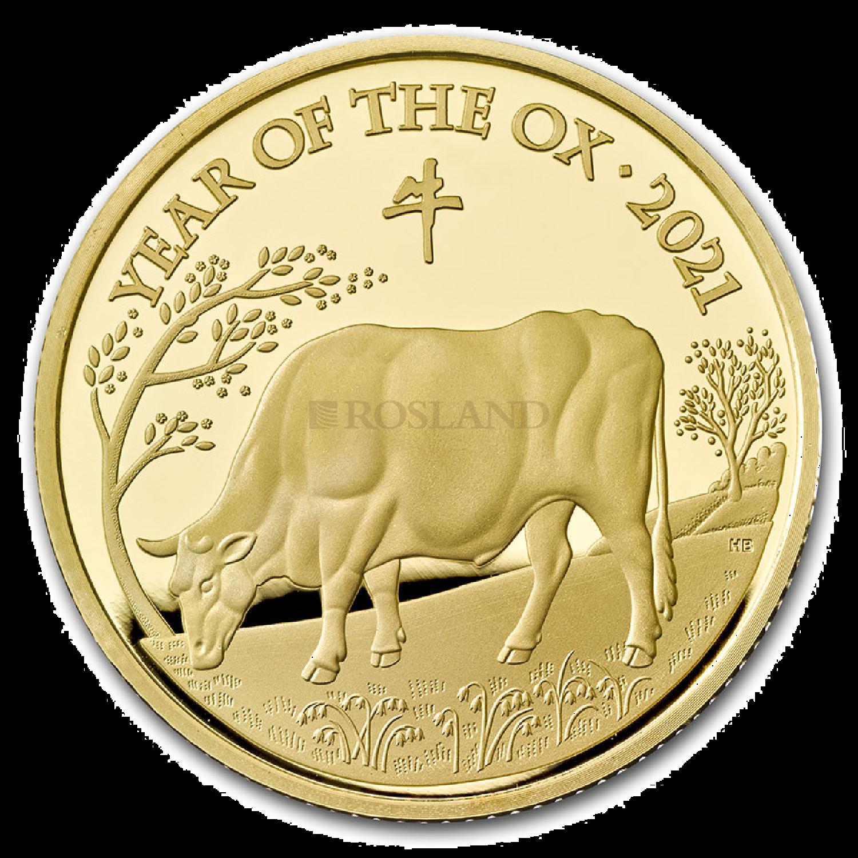 1/4 Unze Goldmünze Großbritannien Lunar Ochse 2021 (Box, Zertifikat)