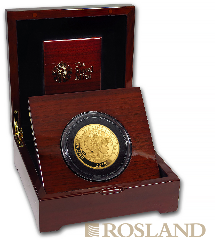 5 Unzen Goldmünze Britannia 2018 PP (Box, Zertifikat)