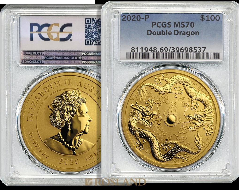 1 Unze Goldmünze Perth Mint Doppeldrachen 2020 PCGS MS-70