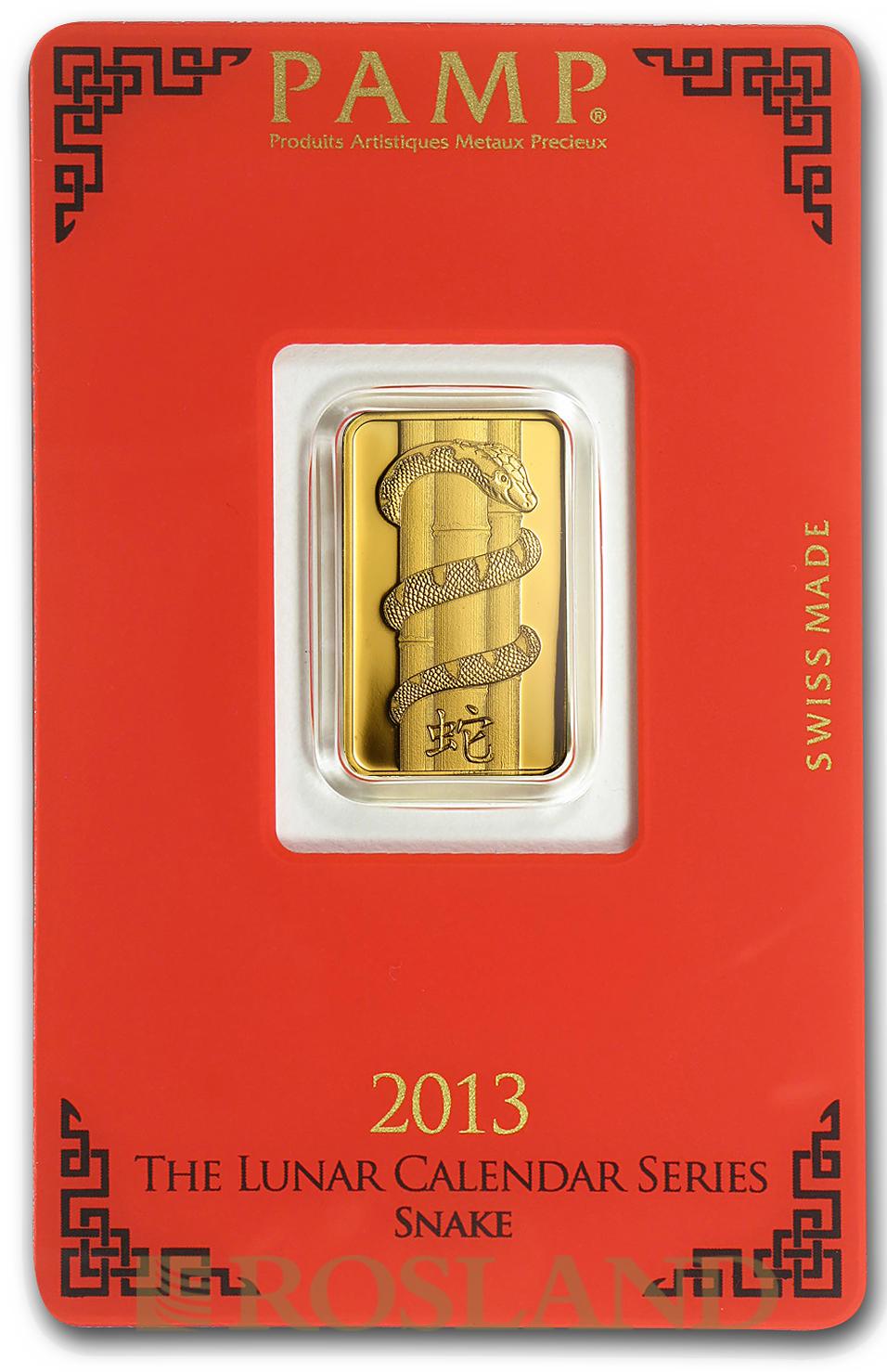 5 Gramm Goldbarren PAMP Lunar Jahr der Schlange 2013