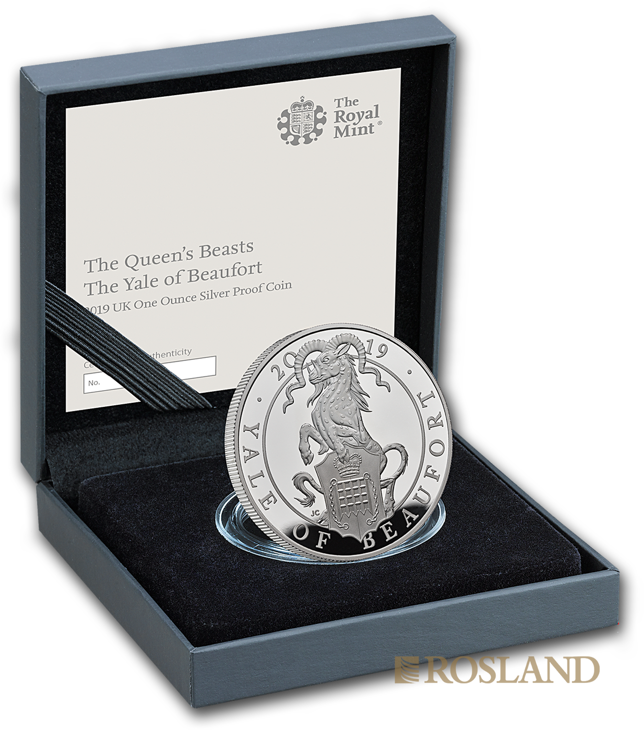 1 Unze Silbermünze Queens Beasts Yale 2019 PP (Box, Zertifikat)