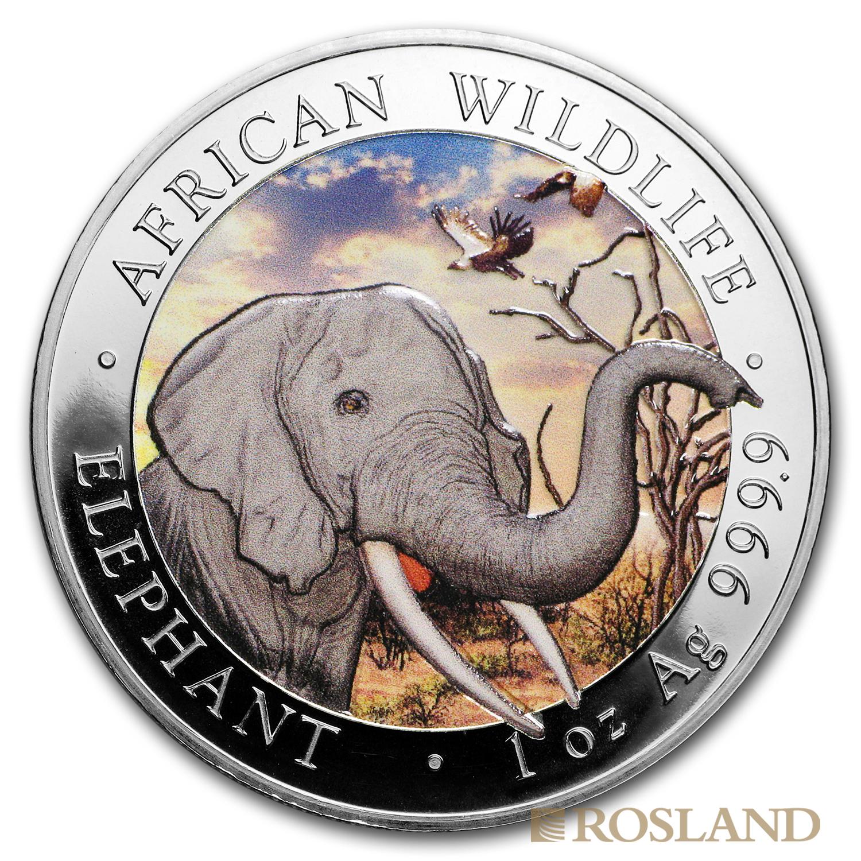 1 Unze Silbermünze Somalia Elefant 2018 (koloriert)