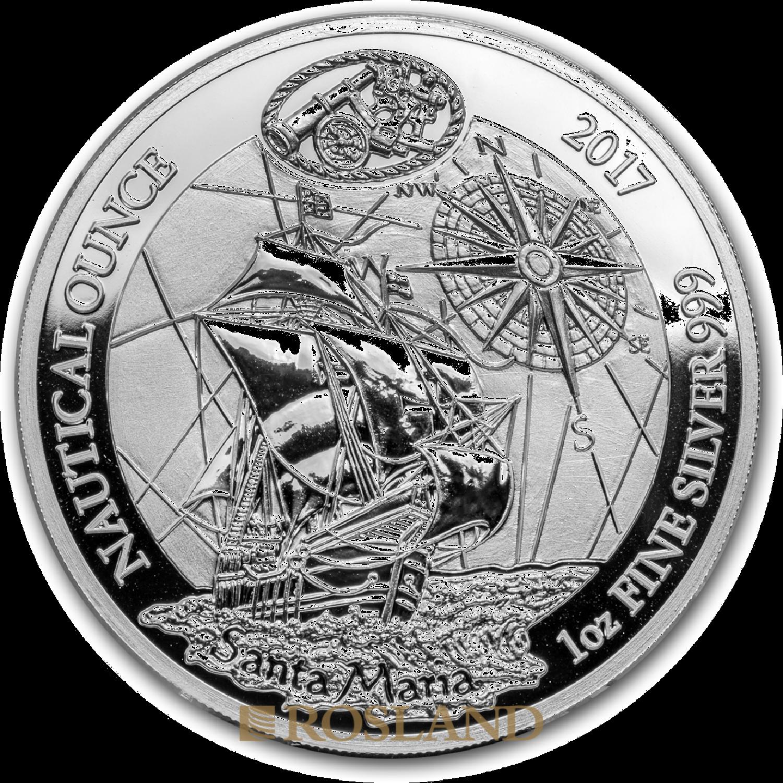 1 Unze Silbermünze Ruanda Nautical Santa Maria 2017 PP