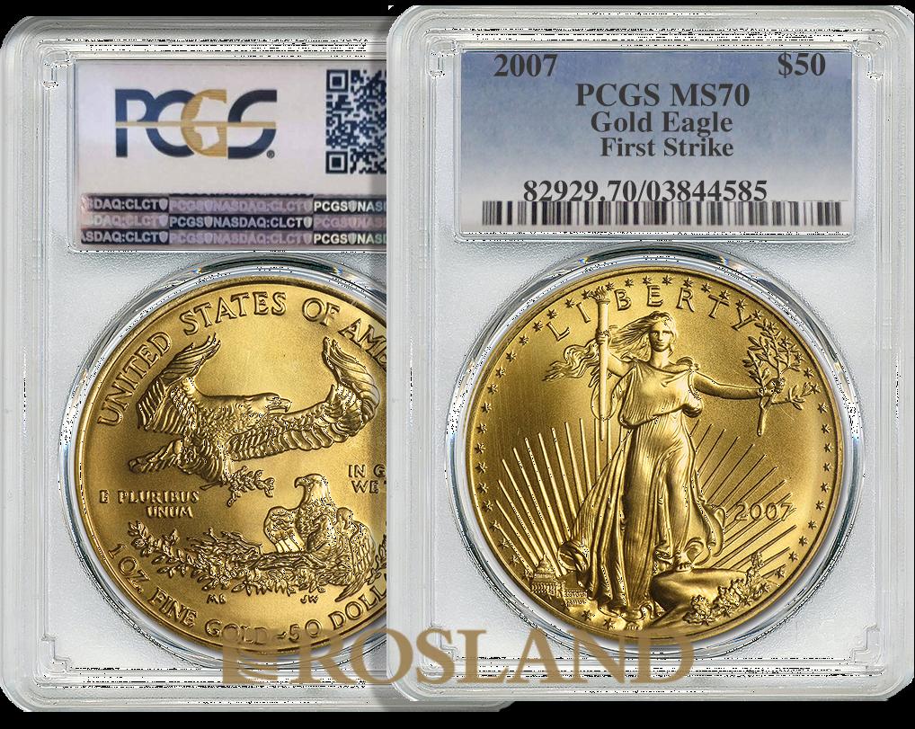 1 Unze Goldmünze American Eagle 2007 PCGS MS-70 (FS)
