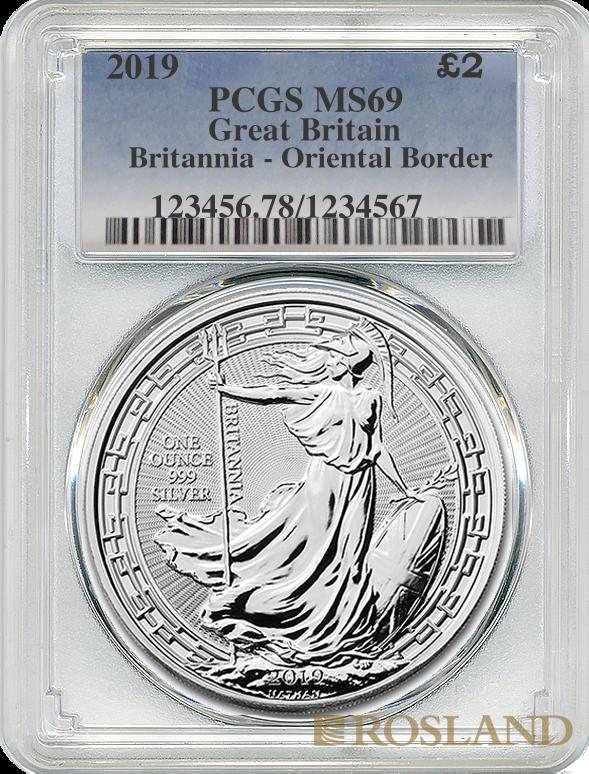 1 Unze Silbermünze Britannia 2019 Oriental Border PCGS MS-69