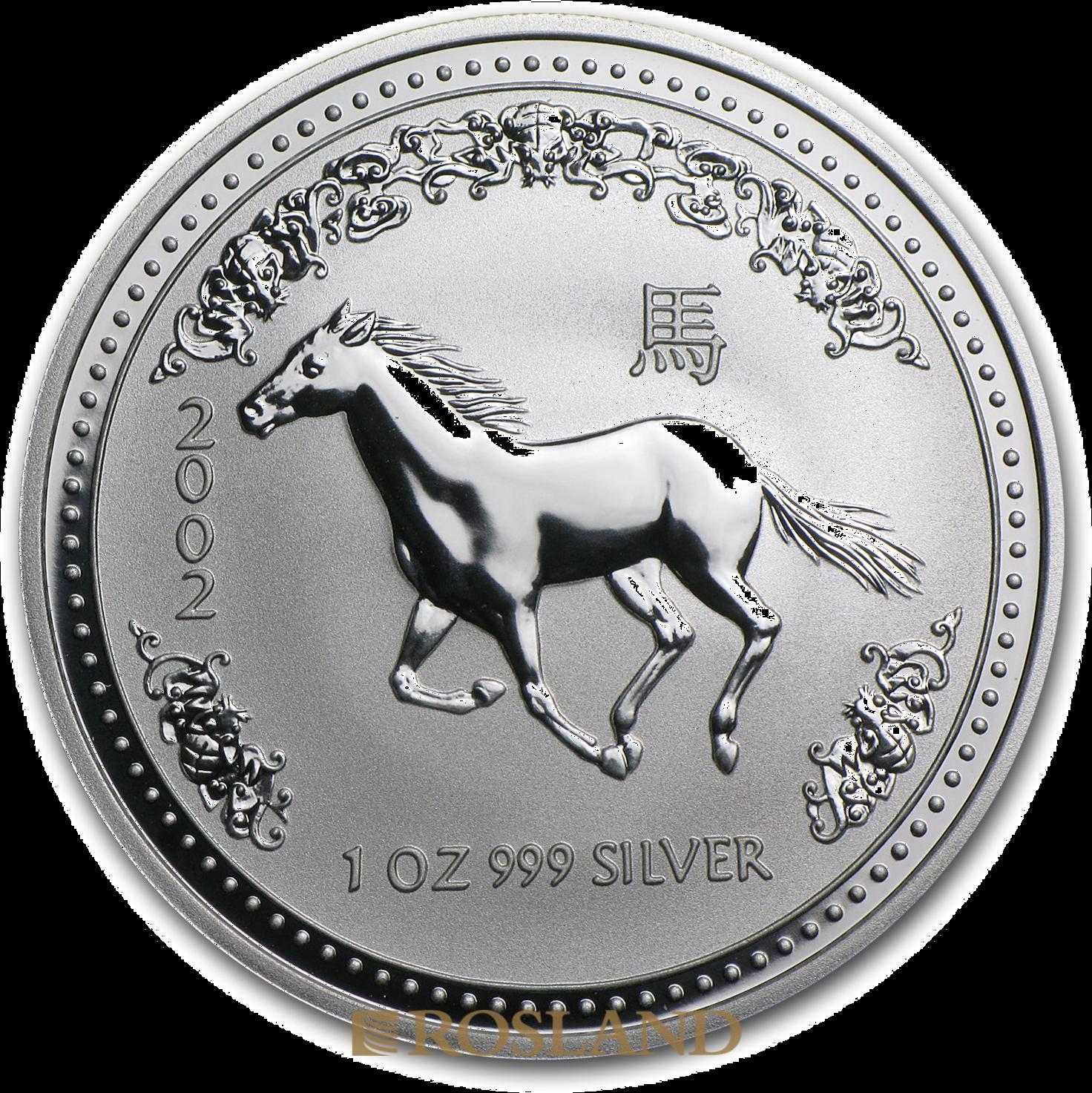 1 Unze Silbermünze Australien Lunar 1 Pferd 2002