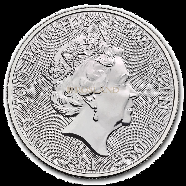 1 Unze Platinmünze Queens Beasts White Lion 2021