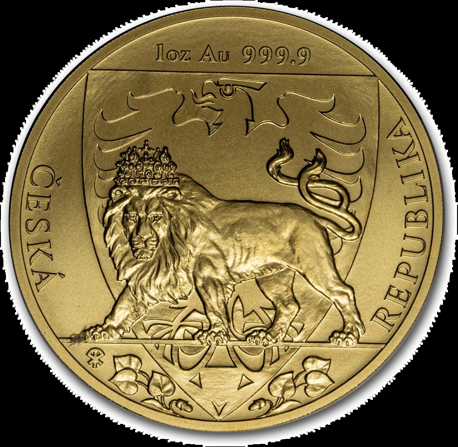 1 Unze Goldmünze Tschechischer Löwe 2020
