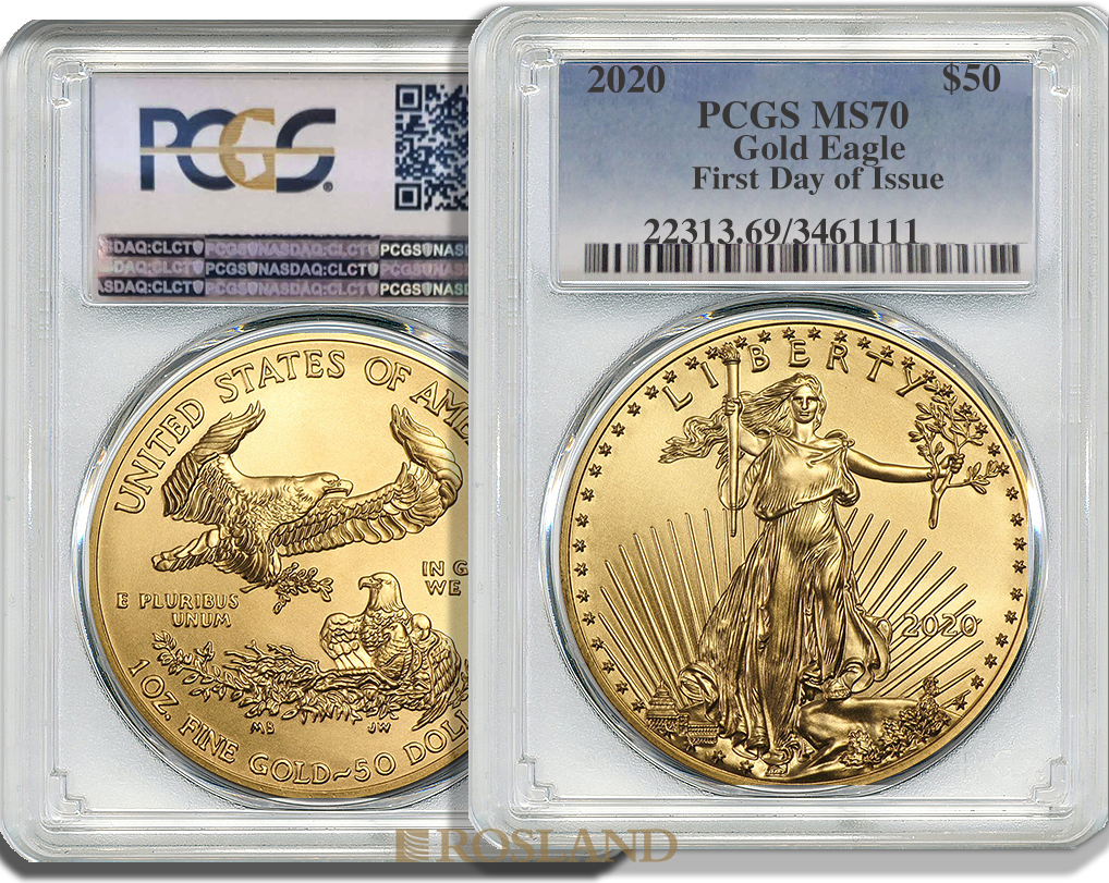1 Unze Goldmünze American Eagle 2020 PCGS MS-70 First Day