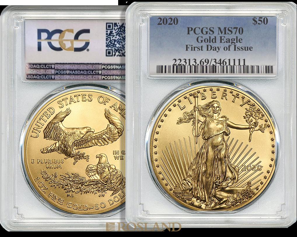 1 Unze Goldmünze American Eagle 2020 PCGS MS-70 First Day