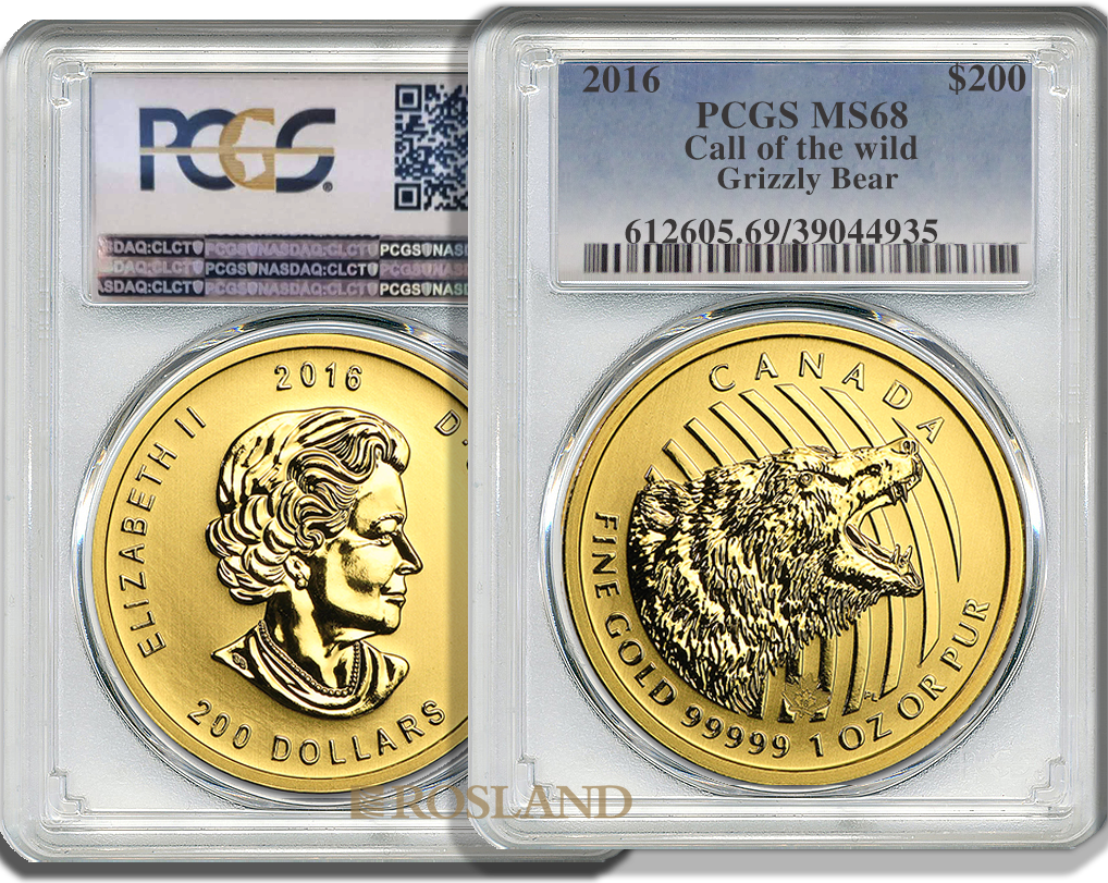 1 Unze Goldmünze Call of the Wild Grizzly Bär 2016 PCGS MS-68 (.99999 Gold)