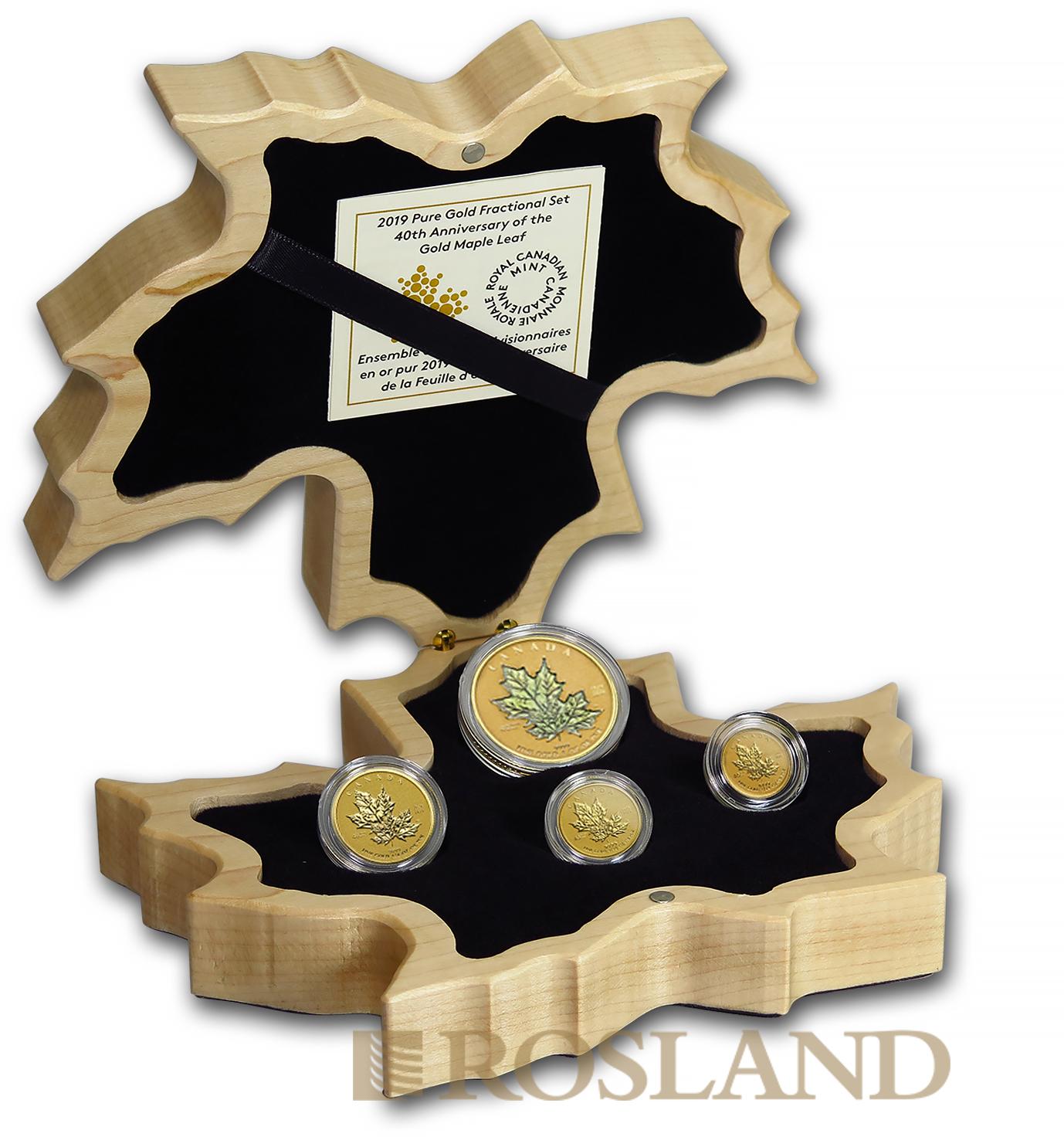 4 Goldmünzen Fractional Maple Leaf Set 2019 PP 40 Jahre Jubiläum