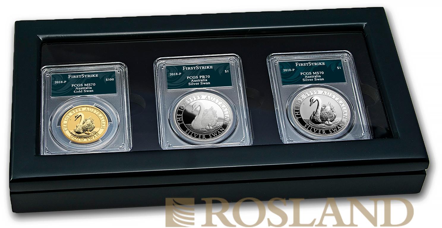 3 Gold- und Silbermünzen Set Australien Schwan #7 2018 PP PCGS MS/PR-70