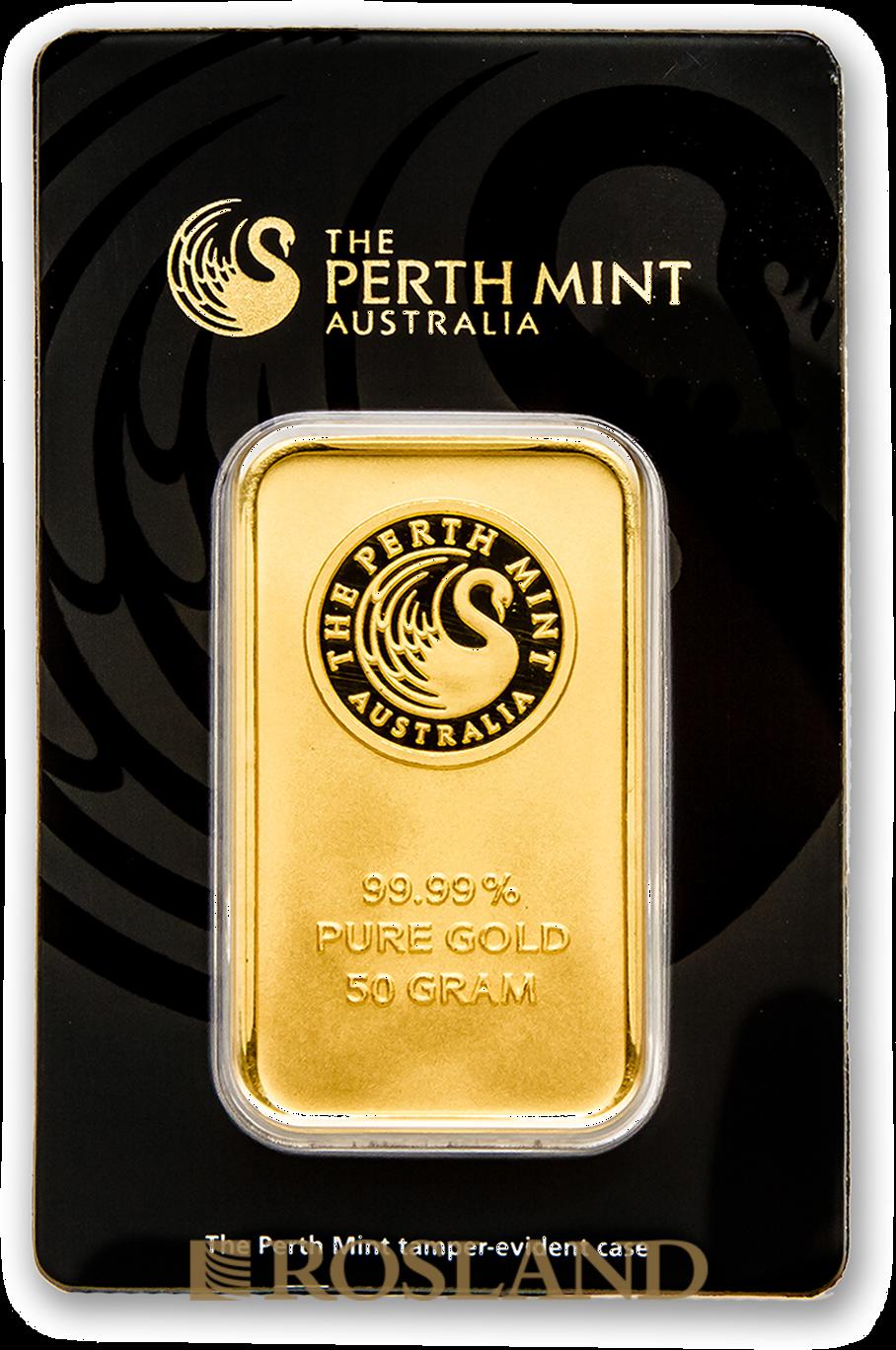 50 Gramm Goldbarren Perth Mint