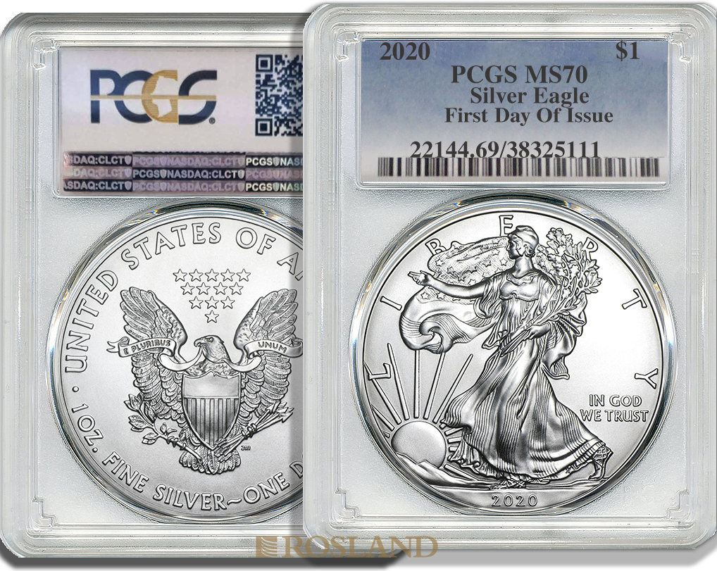 1 Unze Silbermünze American Eagle 2020 PCGS MS-70 First Day