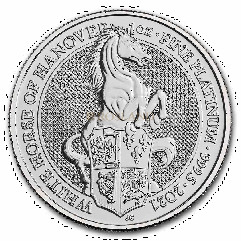 1 Unze Platinmünze Queens Beasts White Horse 2021
