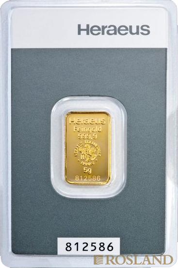 5 Gramm Goldbarren Heraeus Kinebar®