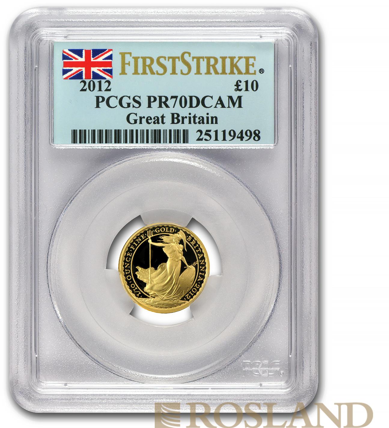 1/10 Unze Goldmünze Britannia 2012 PP PCGS PR-70 DCAM