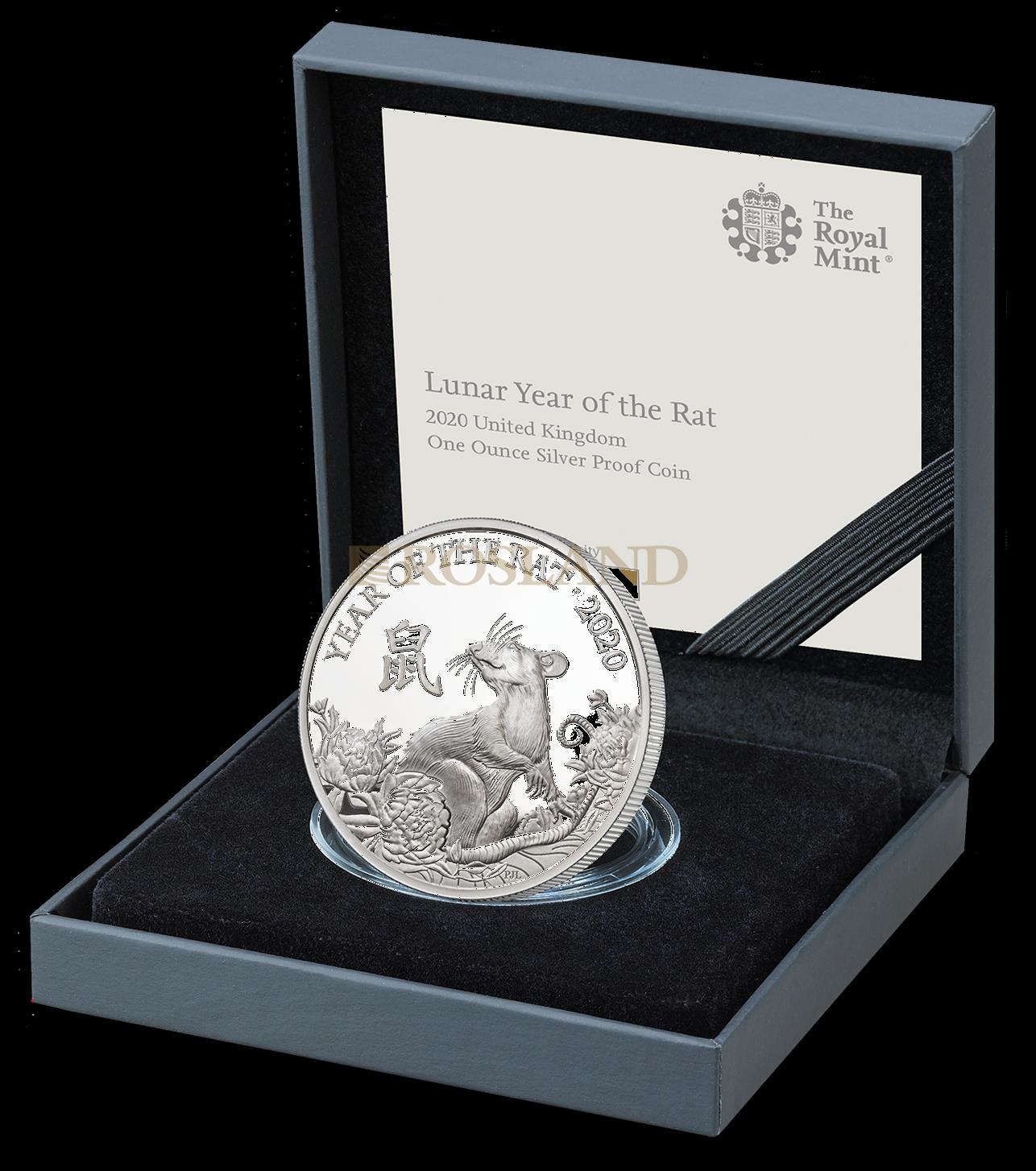 1 Unze Silbermünze Great Britain Jahr der Ratte 2020 PP (Box, Zertifikat)