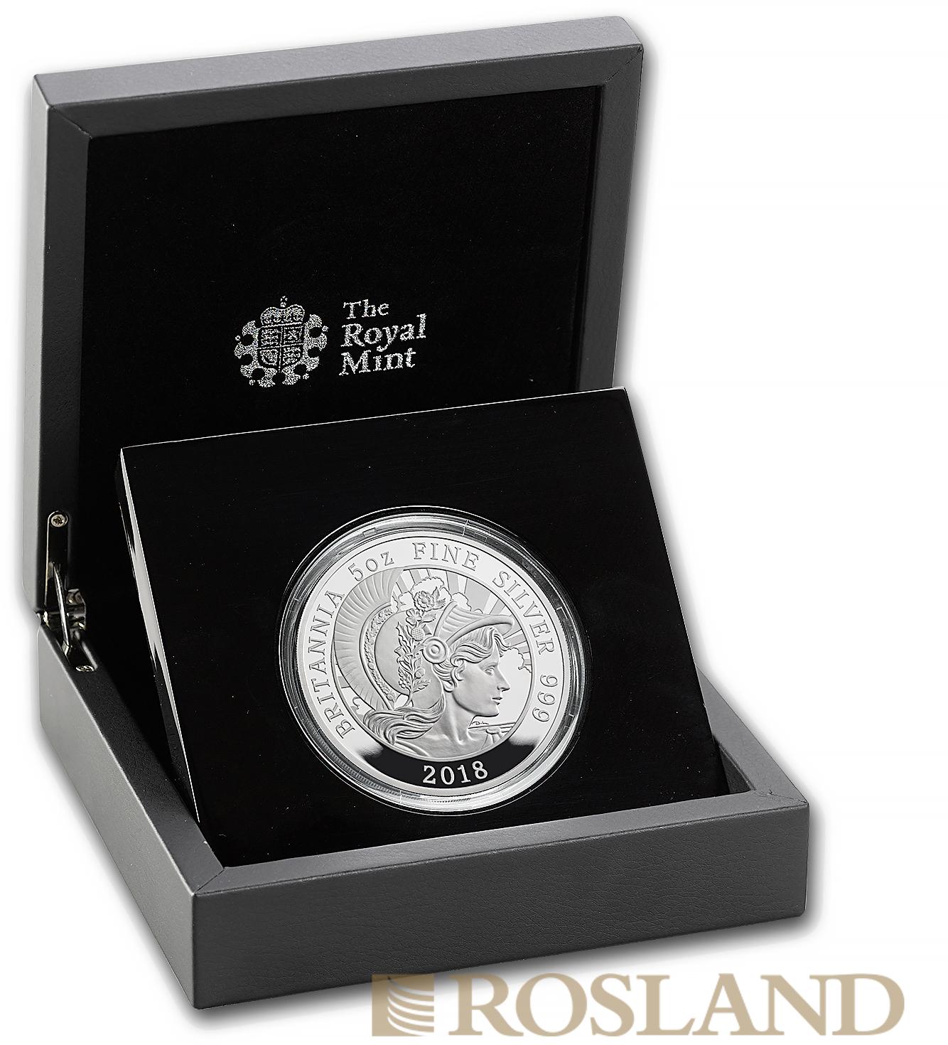 5 Unzen Silbermünze Britannia 2018 PP (Box, Zertifikat)