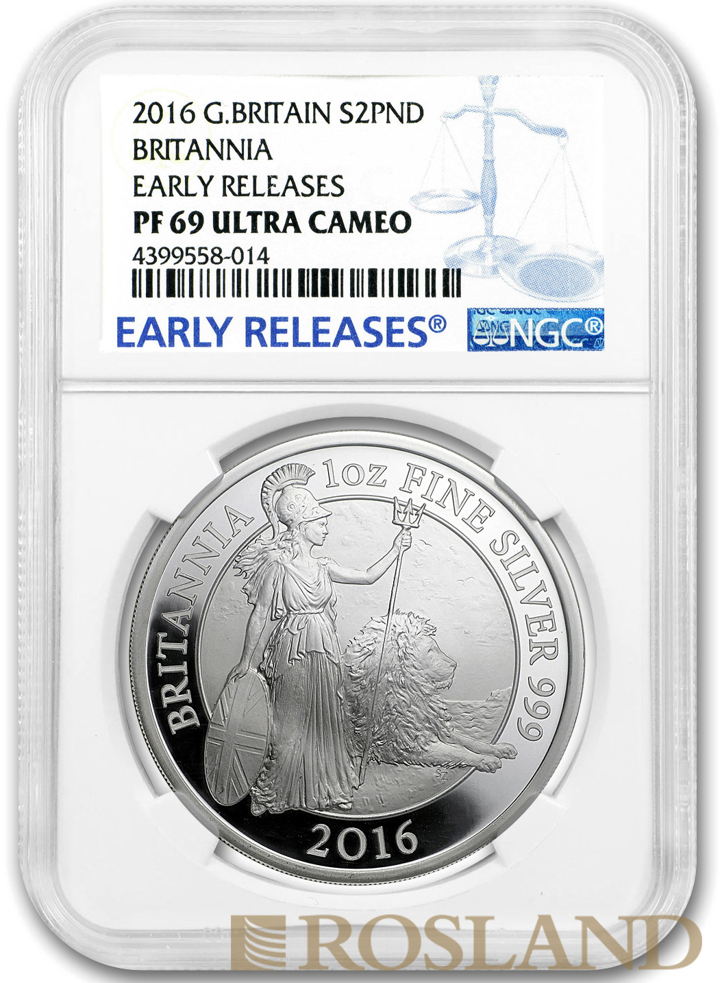 1 Unze Silbermünze Britannia 2016 PP NGC PF-69 ER Ultra Cameo